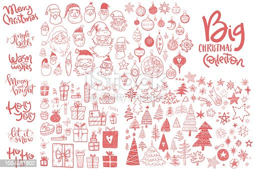 istock Amazing doodle icons collection. Hand kids drawn sketches. Christmas trees, gift box, star, Santa face, decorations, hand lettering compositions. 1054881802
