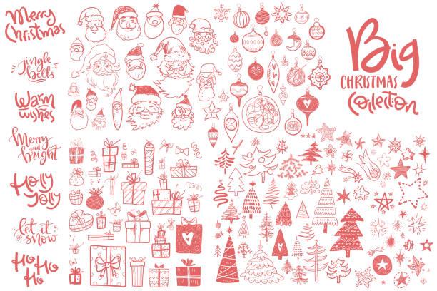 ilustrações de stock, clip art, desenhos animados e ícones de amazing doodle icons collection. hand kids drawn sketches. christmas trees, gift box, star, santa face, decorations, hand lettering compositions. - christmas elements