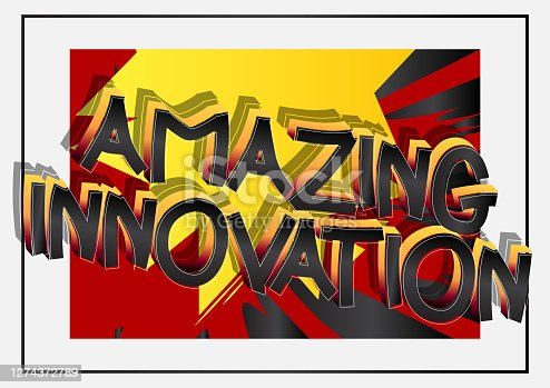 Amazing Innovation Comic book style cartoon words on abstract comics background.