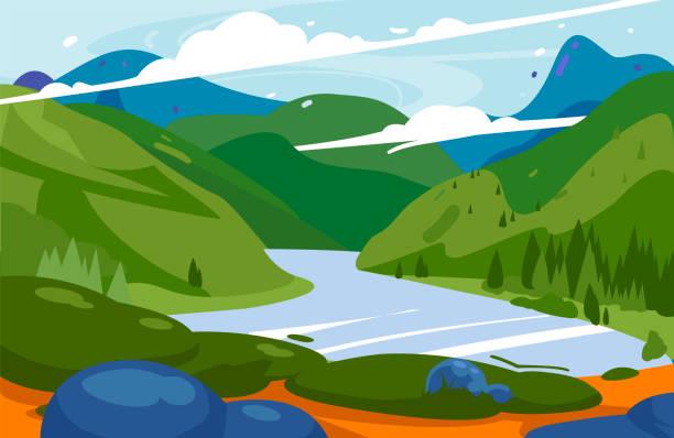 illustrazioni stock, clip art, cartoni animati e icone di tendenza di amazing mountains green landscape vector illustration. national park background. - fiordi