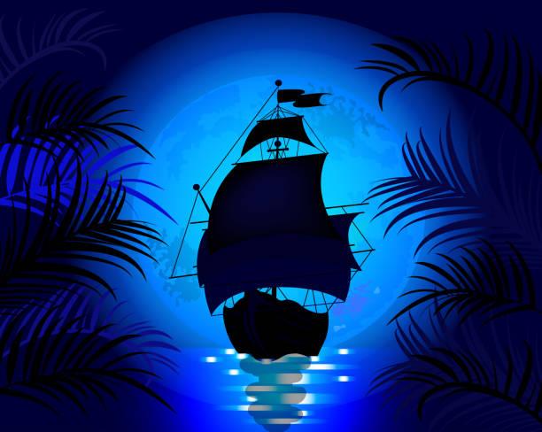 Amazing night landscape with sailing ship at sea on a background Amazing night landscape with sailing ship at sea on a background of blue moon pirate ship stock illustrations