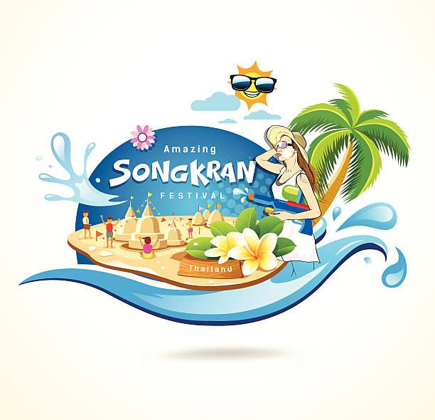 amazing songkran festival in thailand seashore concept - songkran festival stock illustrations, clip art, cartoons, & icons