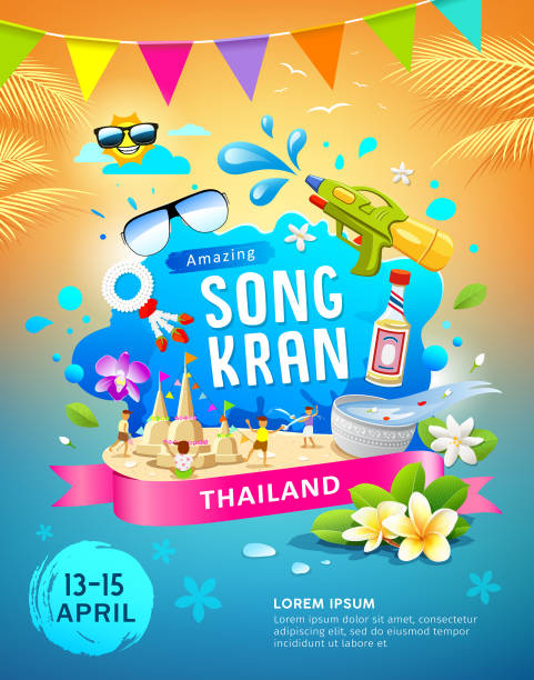 amazing songkran festival in thailand this summer colorful poster - songkran festival stock illustrations, clip art, cartoons, & icons