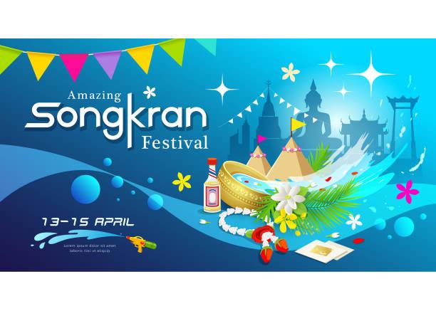 amazing songkran festival of thailand water splash background - songkran festival stock illustrations, clip art, cartoons, & icons