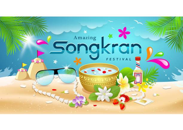 amazing songkran festival summer of thailand on sea background - songkran festival stock illustrations, clip art, cartoons, & icons