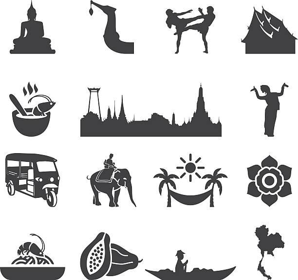 niesamowite tajlandia sylwetka ikony/eps10 - tajlandia stock illustrations