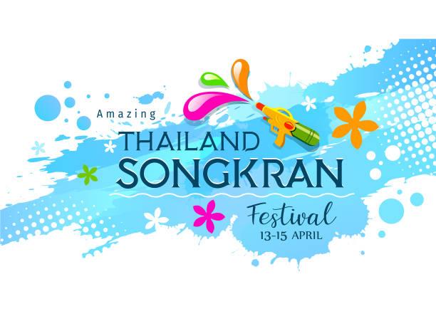 amazing thailand, songkran, festival with gun on water splash - songkran festival stock illustrations, clip art, cartoons, & icons