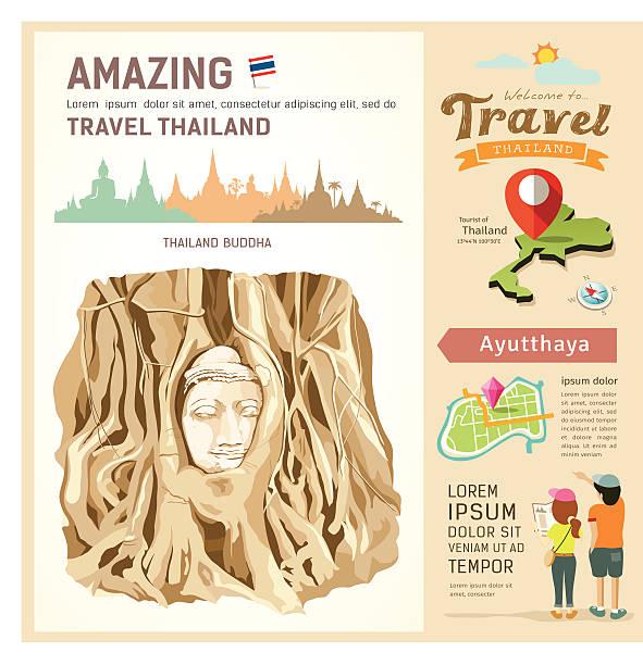 """""""wunderbares thailand, den wurzeln der head of buddha bild"""" - ayutthaya stock-grafiken, -clipart, -cartoons und -symbole"""