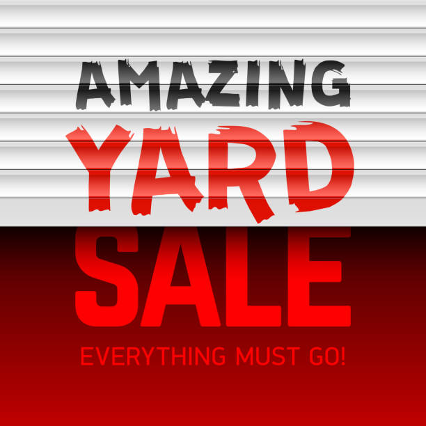 amazing yard sale poster - türposter stock-grafiken, -clipart, -cartoons und -symbole