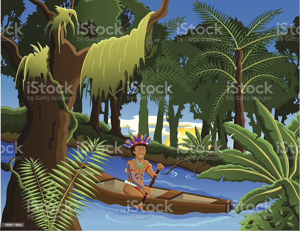Amazon Indigenous man vector art illustration