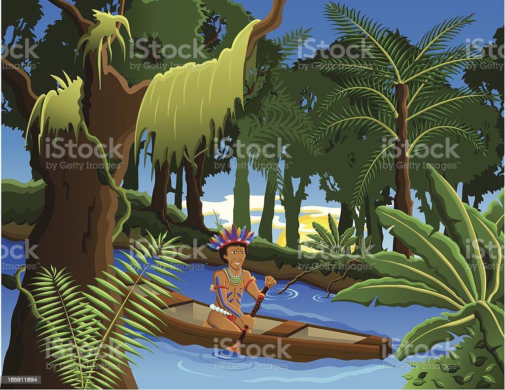 Amazon homem indígena - ilustração de arte em vetor
