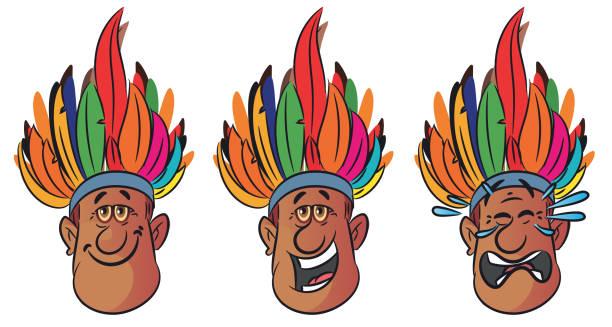ilustrações, clipart, desenhos animados e ícones de rosto de homem amazonas - manaus