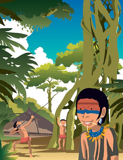 Amazon people Amazon people doing daily routine amazon stock illustrations