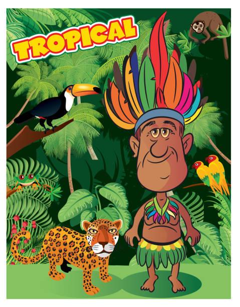 ilustrações, clipart, desenhos animados e ícones de floresta amazônica e o homem da amazônia - manaus