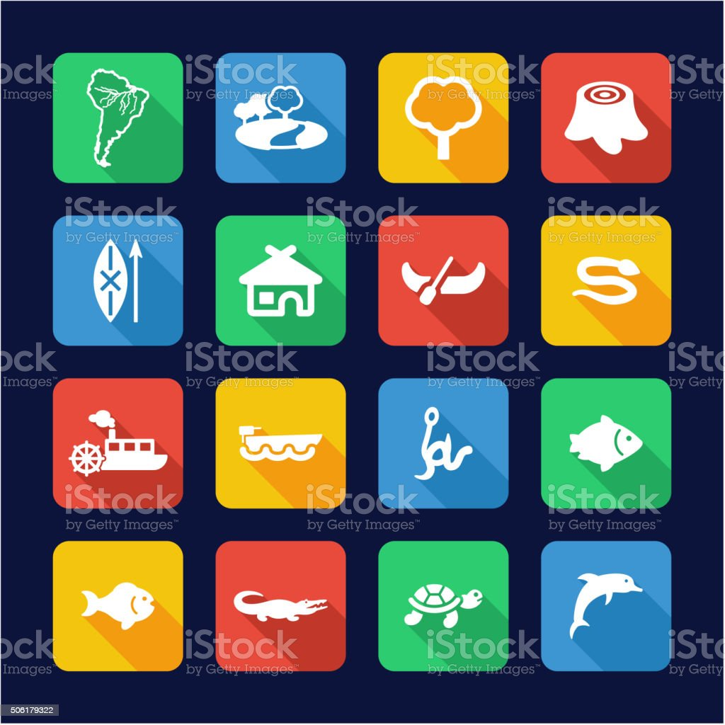 Amazon Rainforest Icons Flat Design vector art illustration
