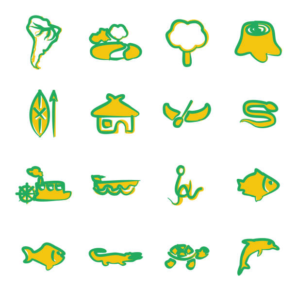 Amazon Rainforest Icons Freehand 2 Color This image is a vector illustration and can be scaled to any size without loss of resolution. amazon stock illustrations