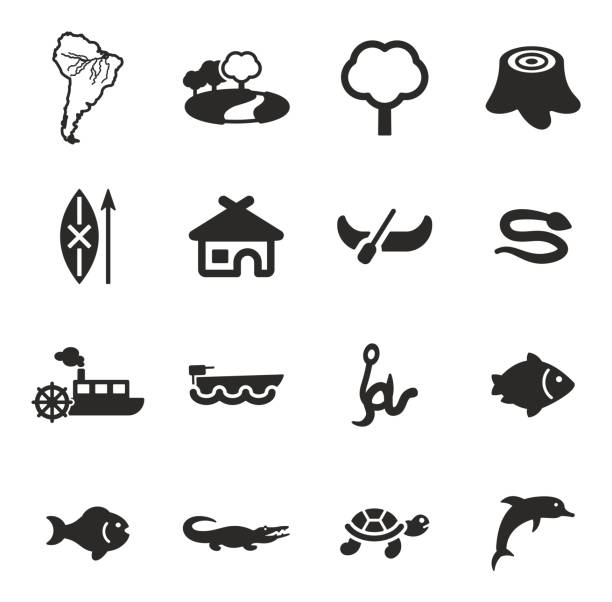 Amazon Rainforest Icons This image is a illustration and can be scaled to any size without loss of resolution. amazon stock illustrations