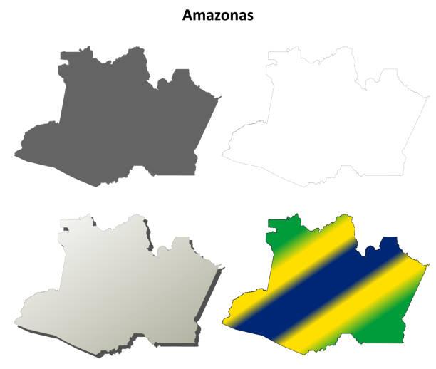 ilustrações, clipart, desenhos animados e ícones de conjunto de mapa de contorno em branco amazonas - manaus