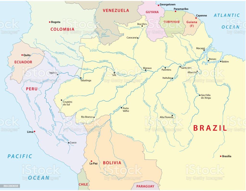 amazonas river map vector art illustration