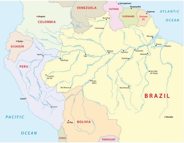 amazonas river map amazonas river vectormap amazon stock illustrations