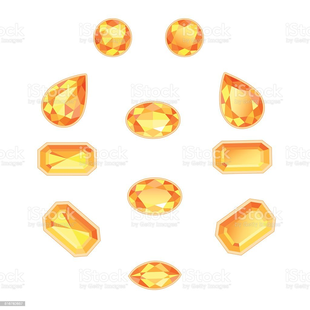 Amber Topaz Set Isolated Objects vector art illustration