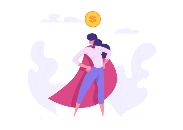 Ambition Business Success Concept with Superhero Woman Character. Motivational Banner with Proud Businesswoman with Dollar Sign Graph for Website, Web Page or Presentation. Flat Vector Illustration Ambition Business Success Concept with Superhero Woman Character. Motivational Banner with Proud Businesswoman with Dollar Sign Graph for Website, Web Page or Presentation. Flat Vector Illustration businesswear stock illustrations