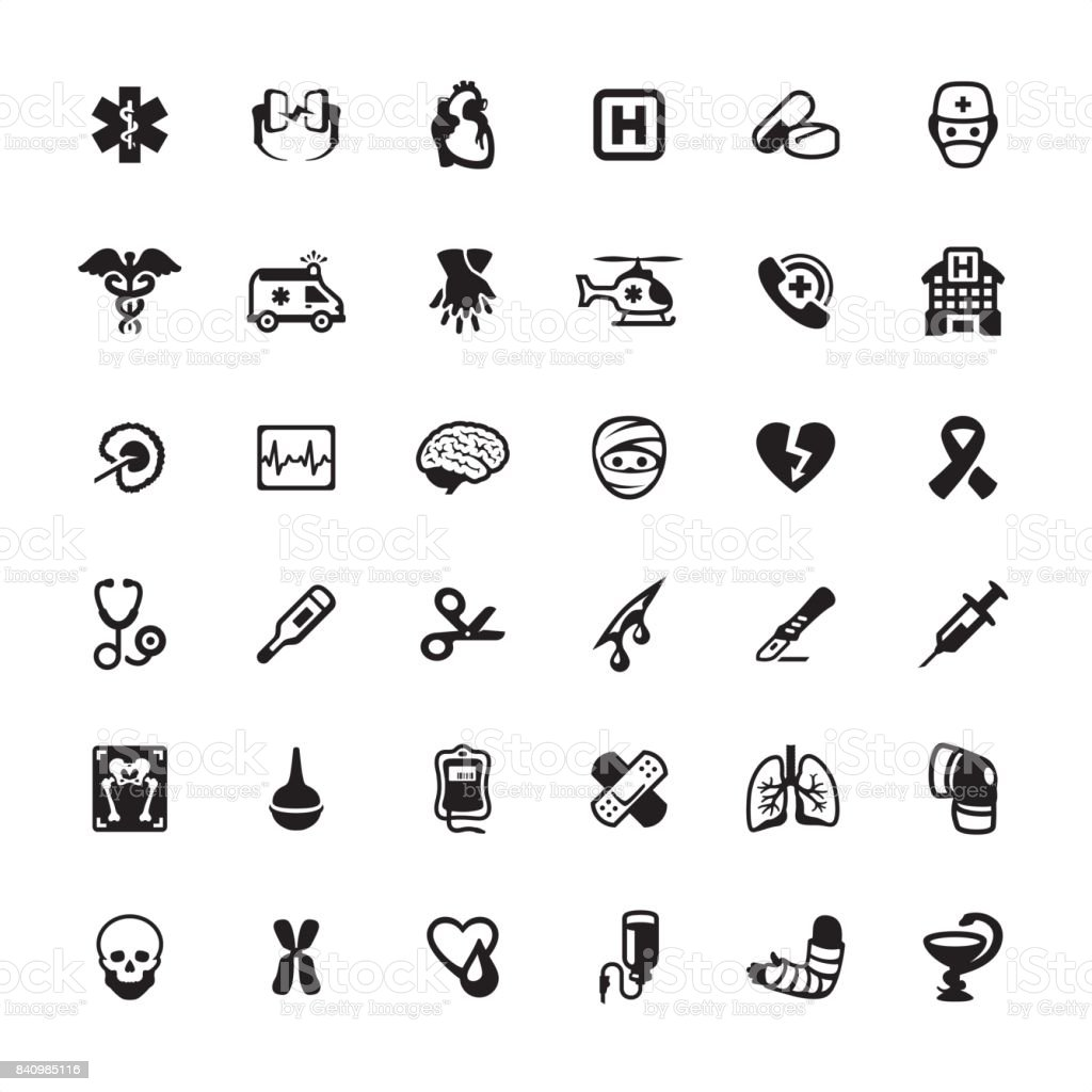 Ambulance and Emergency Services - icons set vector art illustration