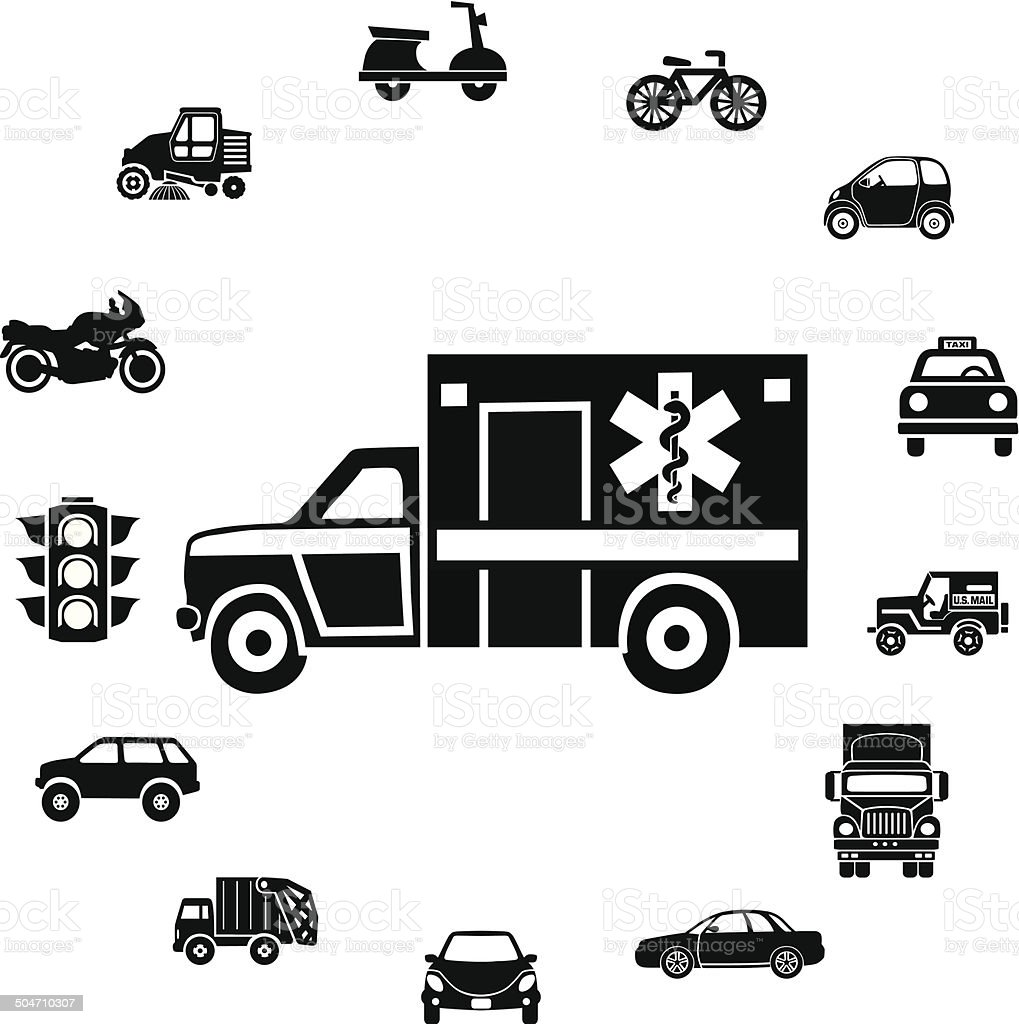 ambulance and ring border of transportation icons vector art illustration