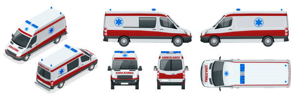 Ambulance Car. An emergency medical service, administering emergency care to those with acute medical problems. vector art illustration