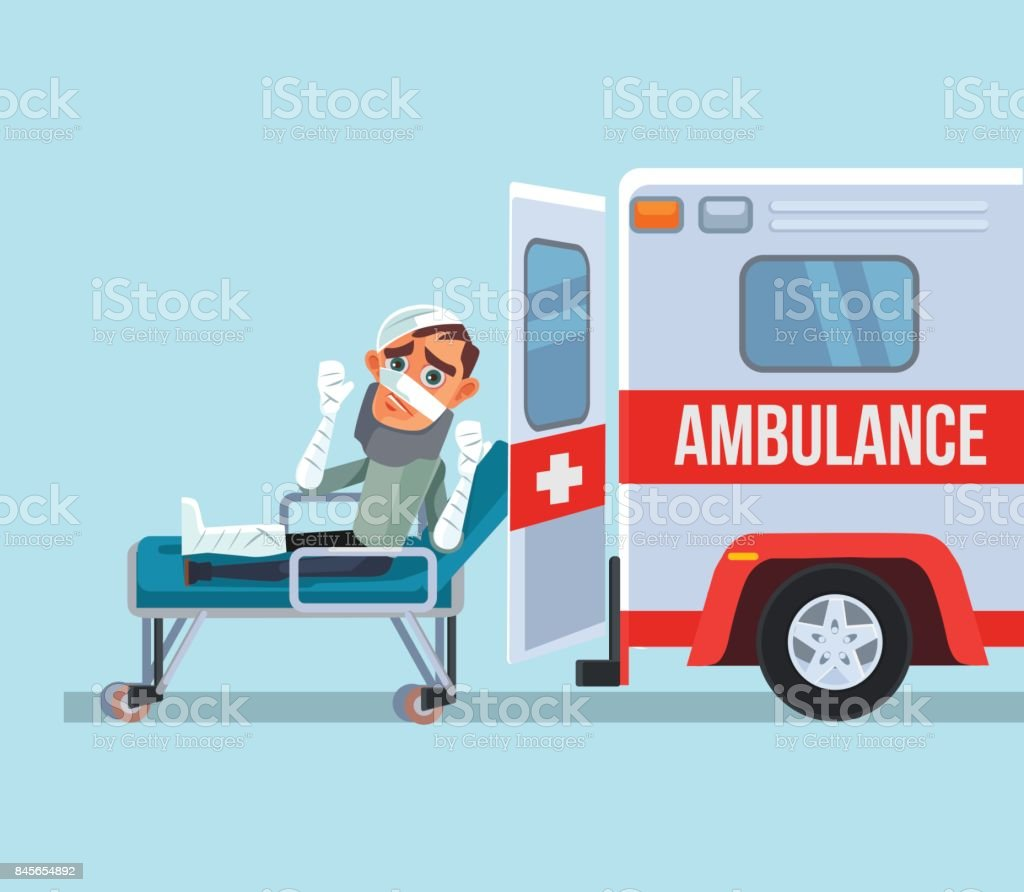 Ambulance car and broken victim man character vector art illustration