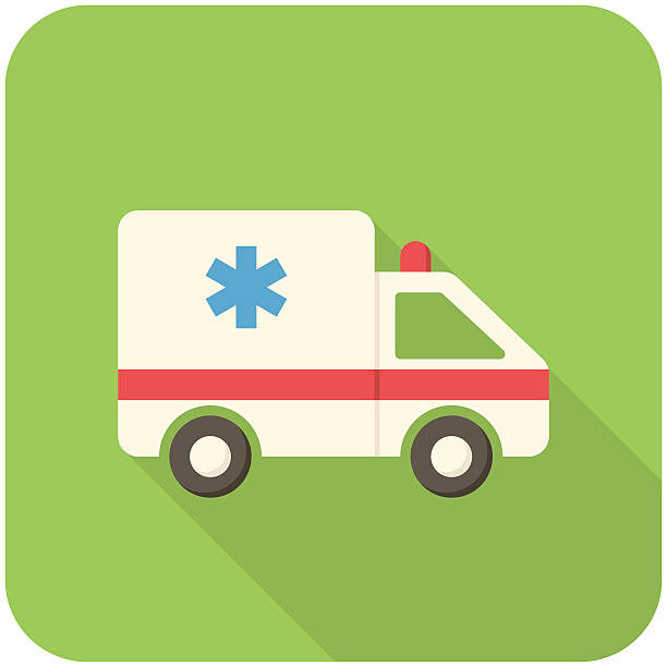 Ambulance car icon vector art illustration