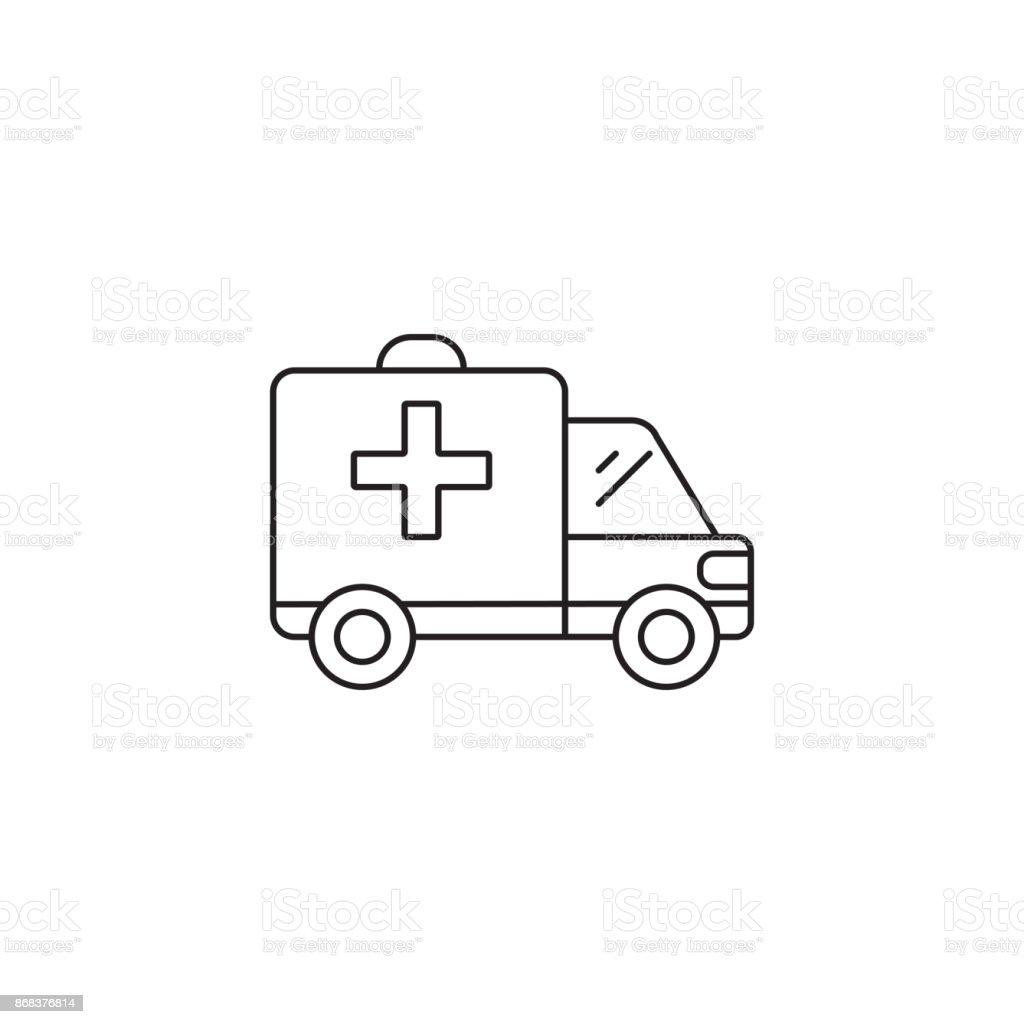 Ambulance Car Line Icon Outline Vector Logo Illustration Linea Stock