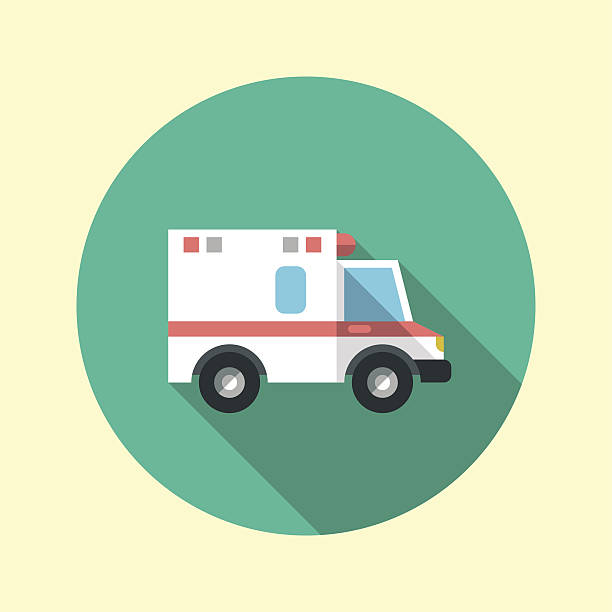 Ambulance car long shadow flat design icon. Vector illustration. vector art illustration