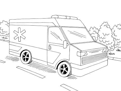 Ambulance car street road graphic black white landscape sketch illustration vector