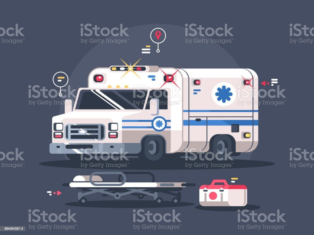 Ambulance car with flasher vector art illustration