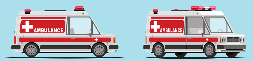 Ambulance car with side view and 3/4 view