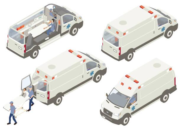 Ambulance cutaways illustration vector art illustration