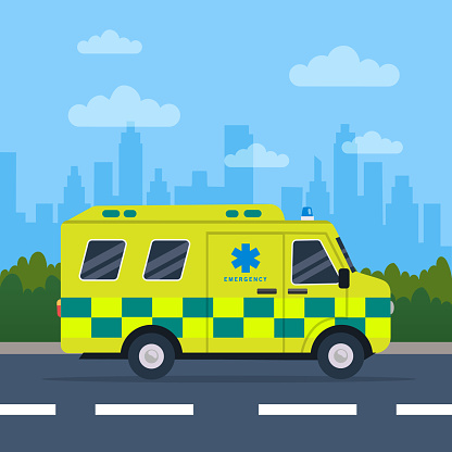 Ambulance driving on the road.