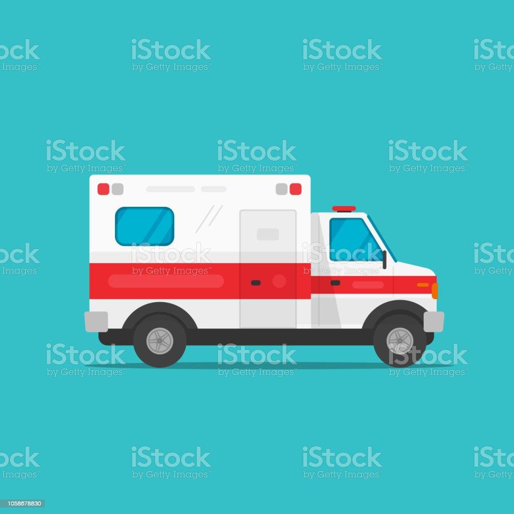 Krankenwagen-Notfall automovil Autos-Vektor-Illustration, isoliert flache Cartoon medizinische Fahrzeug Auto Seitenansicht clipart – Vektorgrafik