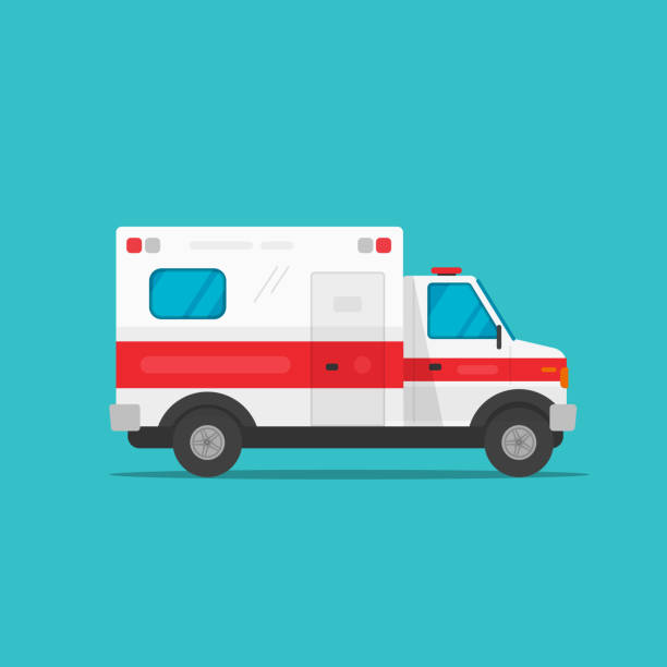 Ambulance emergency automobile car vector illustration, flat cartoon medical vehicle auto side view isolated clipart vector art illustration