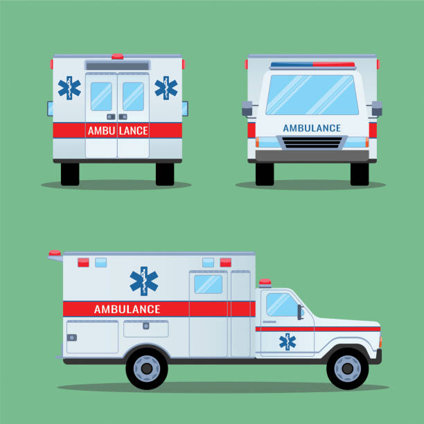 Ambulance Emergency Icon. Back, Front, Side View. vector art illustration