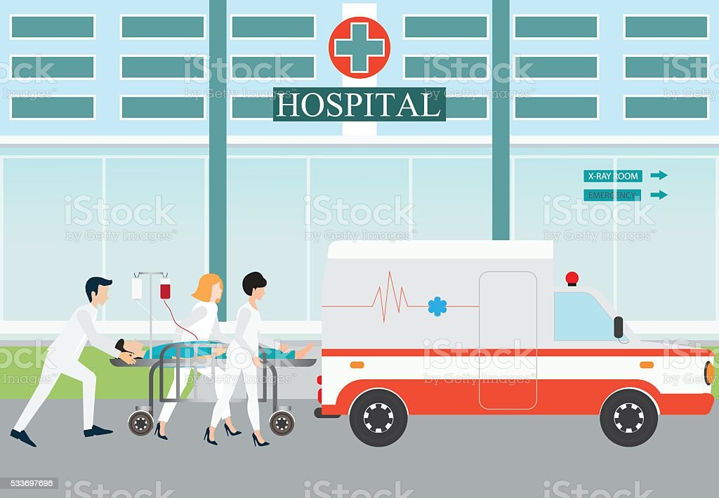 Ambulance emergency medical evacuation accident. vector art illustration