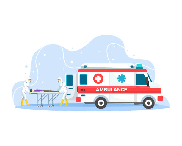 Ambulance emergency paramedic carrying patient in stretcher Doctor who save patients from Coronavirus outbreak fighting covid-19. Vector illustration in a flat style ambulance stock illustrations