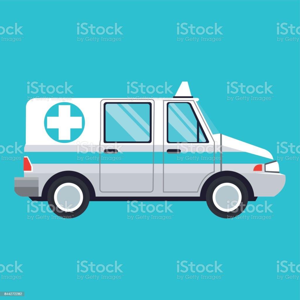 ambulance emergency transport help vector art illustration