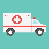 istock Ambulance flat icon, medicine and healthcare, transport sign vector graphics, a colorful solid pattern on a cyan background, eps 10. 843297940