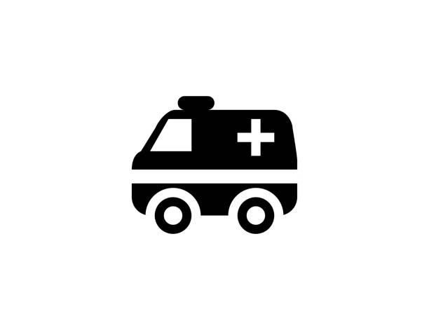 stockillustraties, clipart, cartoons en iconen met ambulance flat vector pictogram. geïsoleerd ambulance auto illustratie symbool - vector - stickers met relief