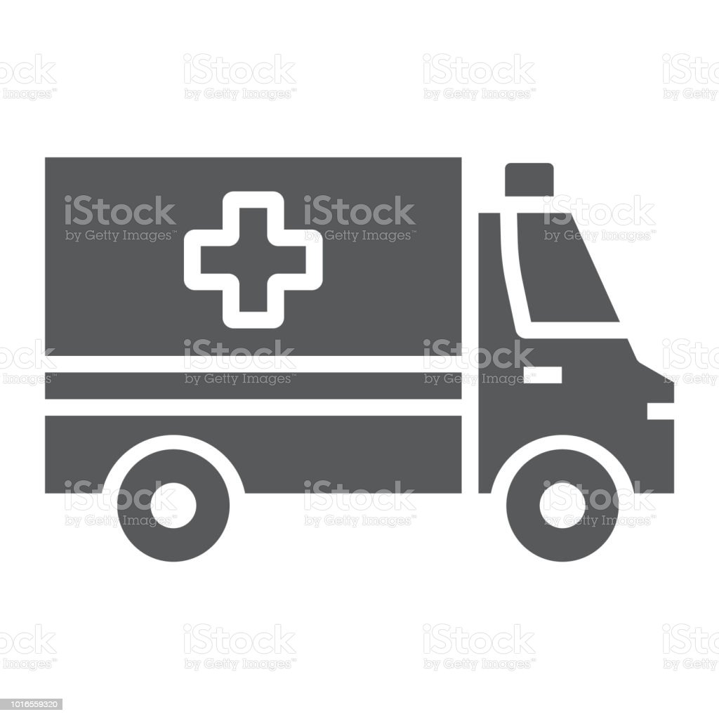 Ambulance glyph icon, emergency and hospital, transport sign, vector graphics, a solid pattern on a white background, eps 10. vector art illustration