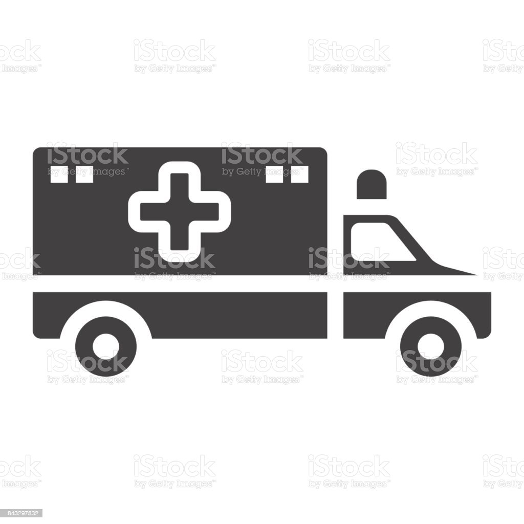Ambulance glyph icon, medicine and healthcare, transport sign vector graphics, a solid pattern on a white background, eps 10. vector art illustration
