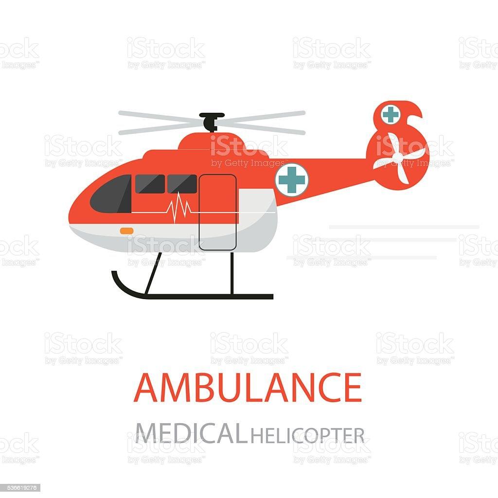 Ambulance helicopter emergency medical service. vector art illustration