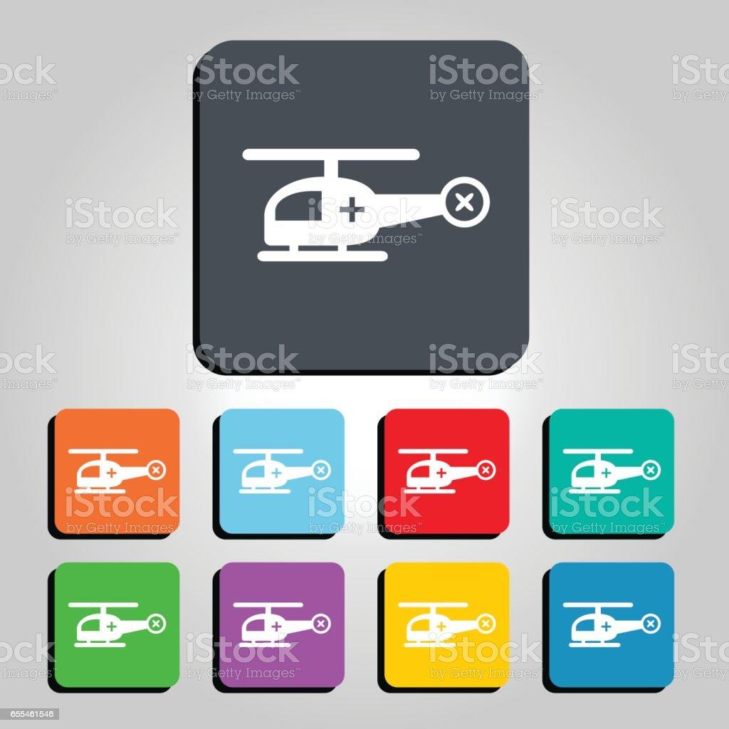 Ambulance Helicopter Vector Icon Illustration vector art illustration